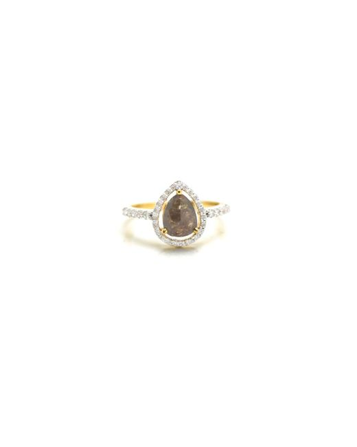 Trésor | Metallic Organic Color Diamond With Round Brilliant Diamond Framed Ring In K Yg | Lyst