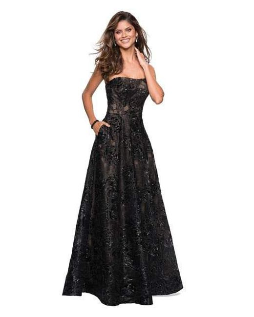 Lyst La Femme 27164 Sequined Lace Strapless A Line Dress In Black