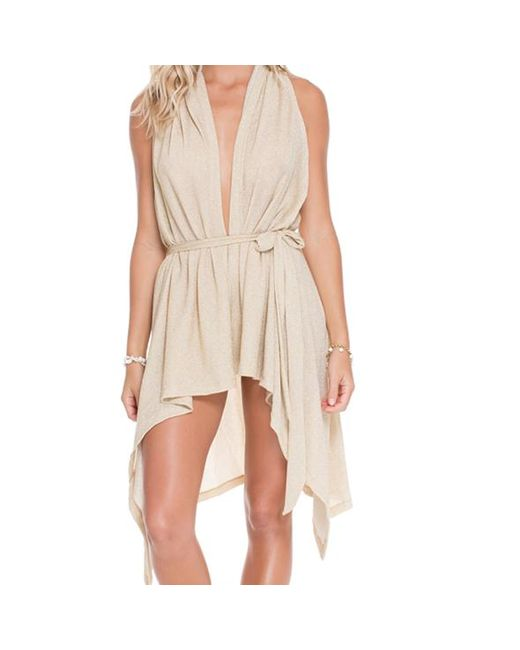 Luli Fama | Metallic Beach Wrap Vest In Gold Rush (l) | Lyst