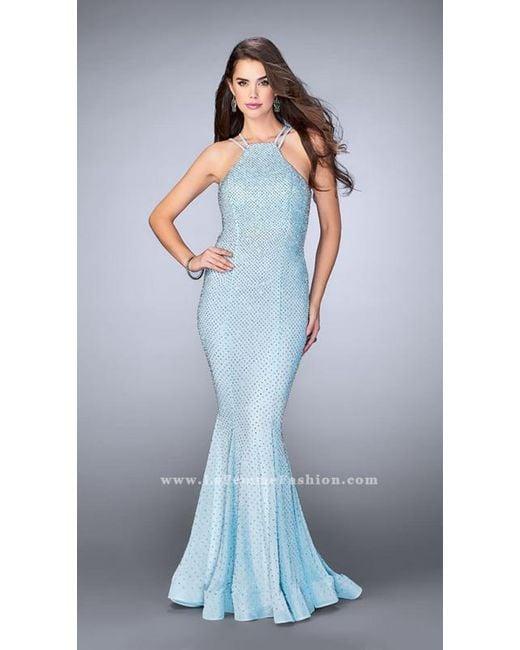 Lyst - La Femme Strappy Beaded Halter Flute Silhouette Prom Dress in ...
