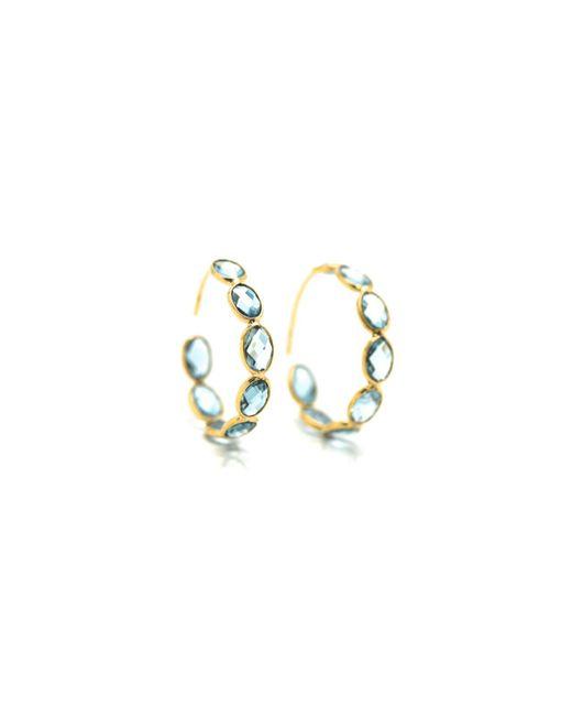 Trésor - London Blue Topaz Hoop Earring In K Yellow Gold - Lyst