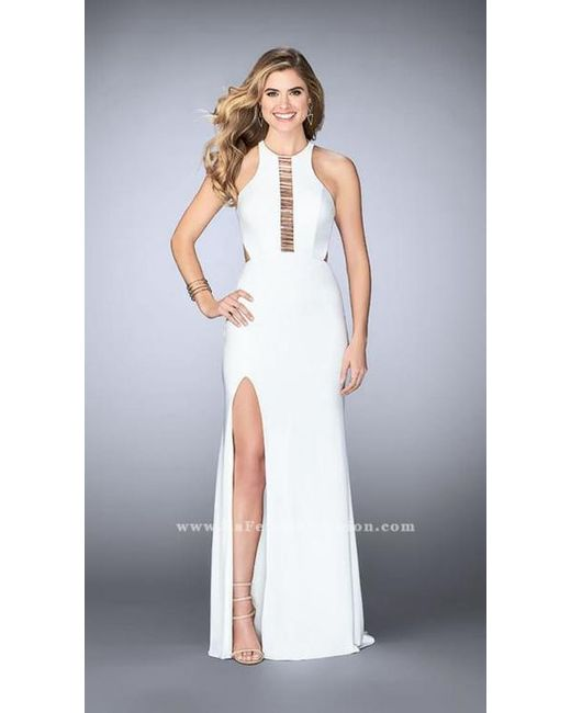 Lyst - La Femme Elegant Halter Beaded Cutout Long Evening Gown in White