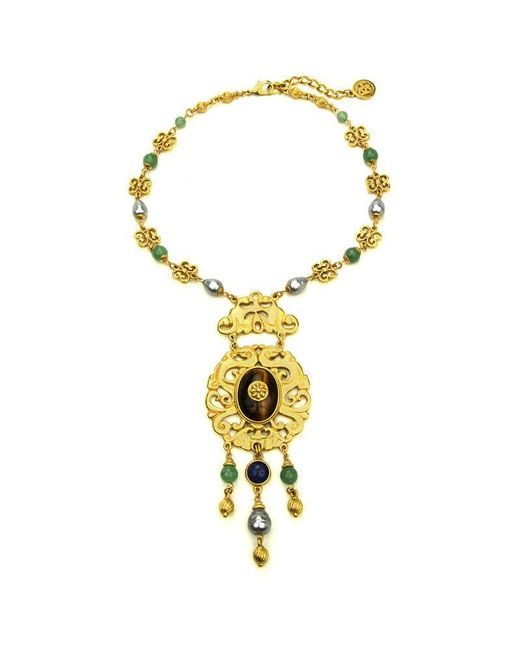 Ben-Amun - Metallic Silk Road Lattice Pendant Necklace - Lyst