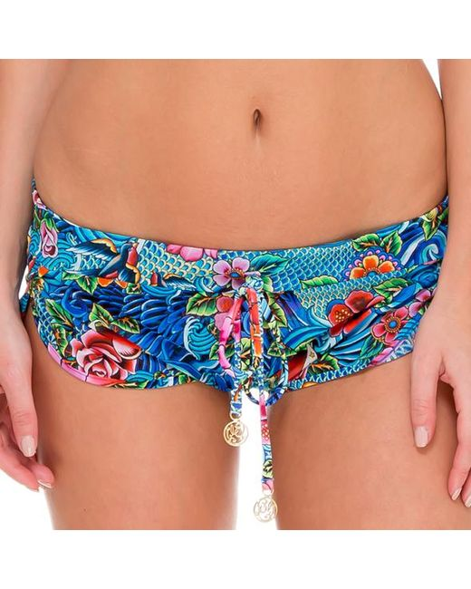 Luli Fama | Blue Inked Drawstring Shorts In Multicolor (l) | Lyst