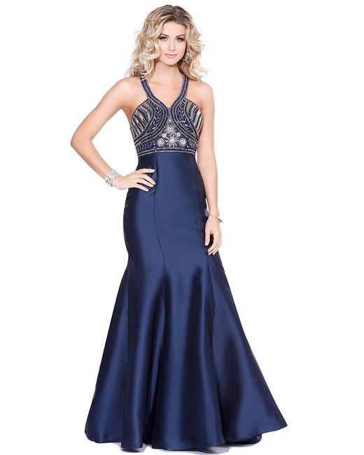 Shail K | Blue Curvy Halter Long Gown | Lyst