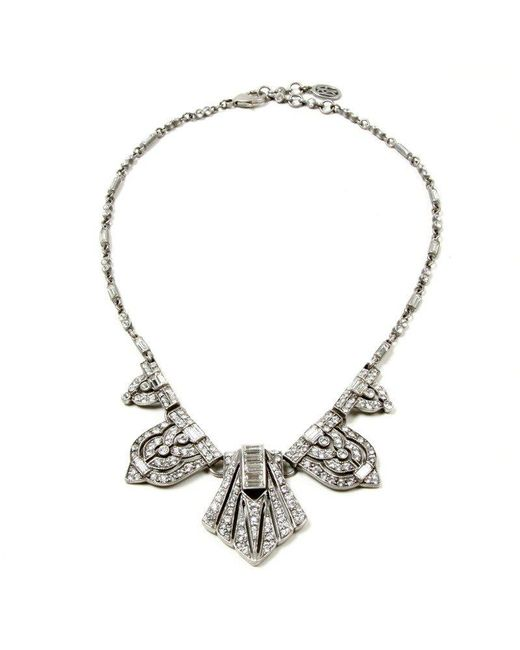 Ben-Amun - Metallic Ornate Crystal Deco Necklace - Lyst
