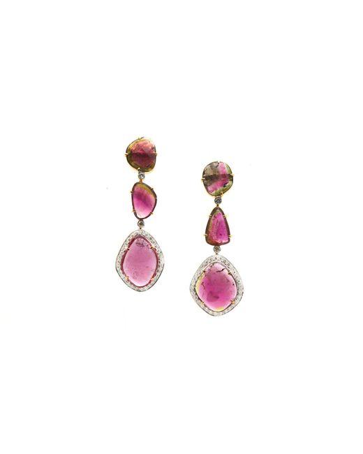 Trésor - Pink Bio Color Tourmaline & Diamond Earring In K Yellow Gold - Lyst