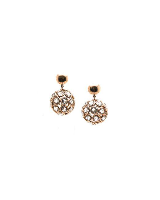 Trésor - Pink White Topaz Origami Sphere Ball Earrings In K Rose Gold - Lyst