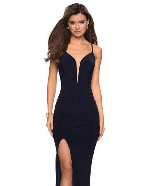 90b17a6a ... La Femme - Blue 27720 Ruched Deep V-neck Jersey Sheath Dress - Lyst ...