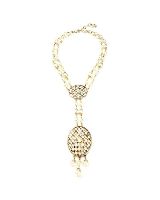 Ben-Amun - Metallic Lattice Pearls Oval Pendant Drop Necklace - Lyst