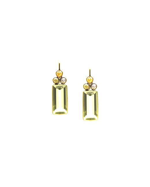 Trésor - Metallic K Yg Earring With Champagne Diamond & Lemon Quartz - Lyst