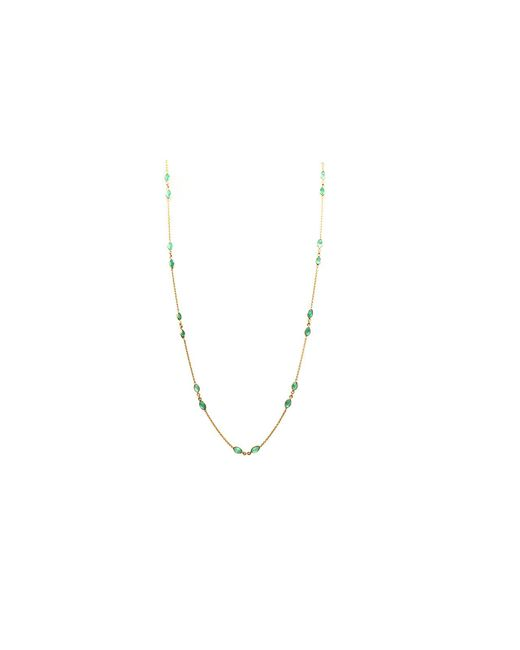 Trésor - Blue Kt Yellow Gold Necklace With Emerald Marquise - Lyst