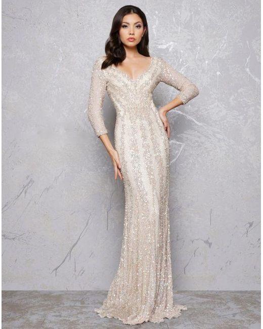 Mac Duggal Couture Platinum Gold Sequin Plunging V Neck