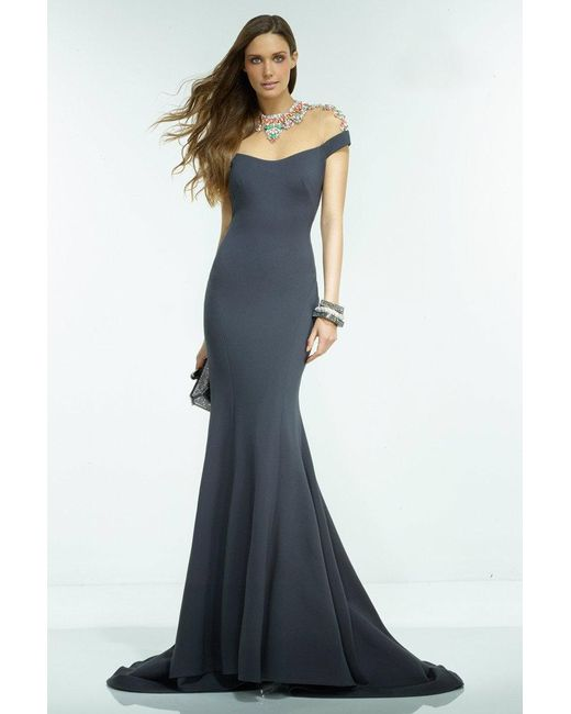Alyce Paris - Gray Claudine - Long Dress In Charcoal Multi - Lyst