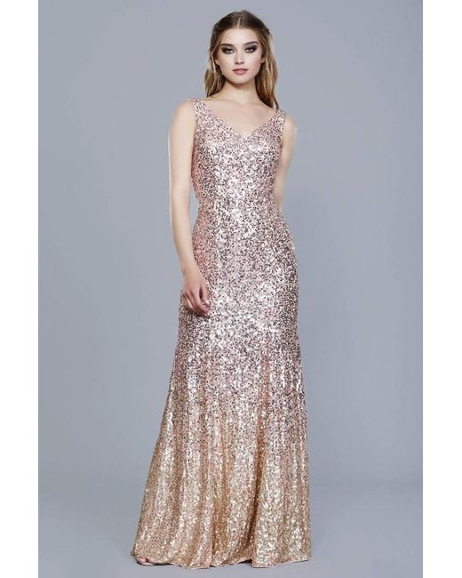Lyst - Shail K 12163 All Over Sequin Embellished Ombre Evening Dress ...