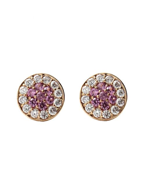 Rachael Ryen   Pink Sapphire Pave Disc Stud Earrings   Lyst
