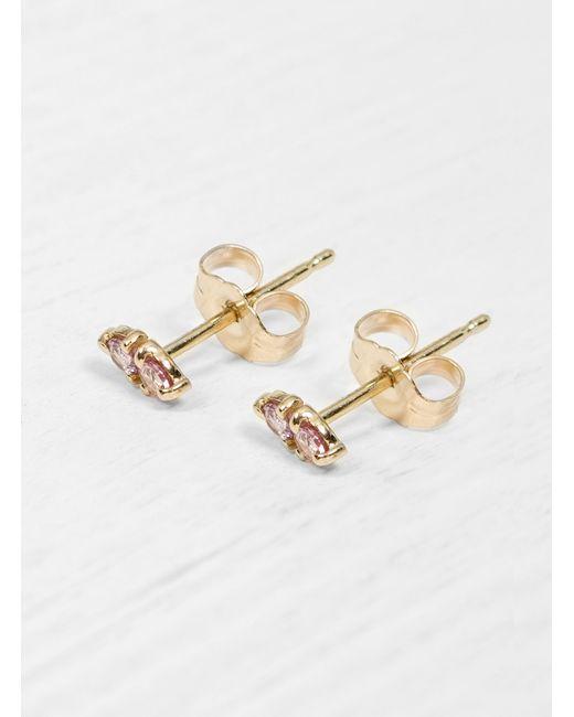 Wwake - Pink Sapphire Two Step Earrings - Lyst