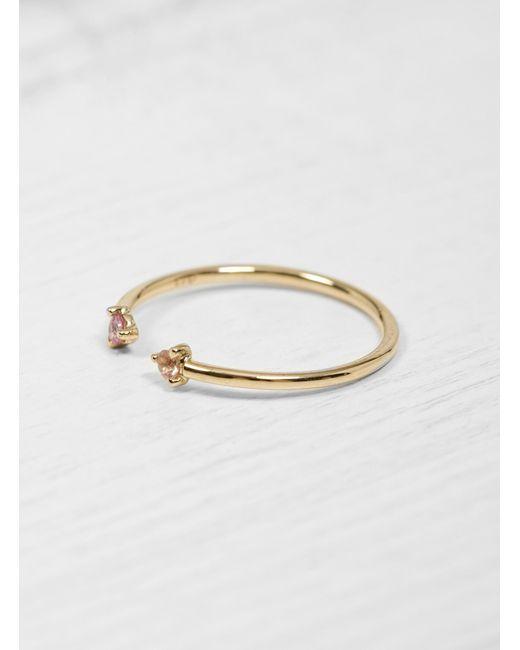 Wwake - Pink Sapphire & Sun Stone Two Step Ring - Lyst