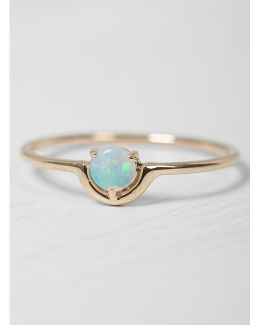 Wwake   Metallic Single Nestled Opal Ring   Lyst