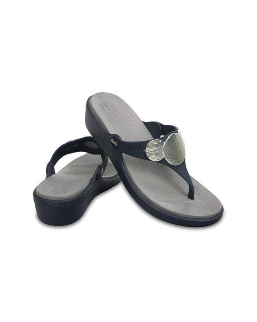168071c65ba4 ... Crocs™ - Blue Sanrah Embellished Wedge Flip - Lyst ...