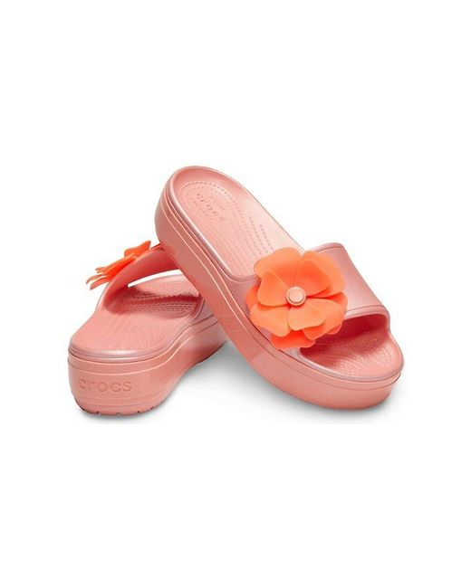9cfdb8aa1b83 ... Crocs™ - Multicolor Crocband Platform Vivid Blooms Slide - Lyst ...