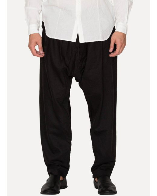 Jan Jan Van Essche - Black Raven Silk Twill Loose Fit Trousers for Men - Lyst