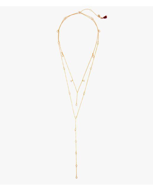 Shashi | Metallic Diamond Dangle Lariat | Lyst