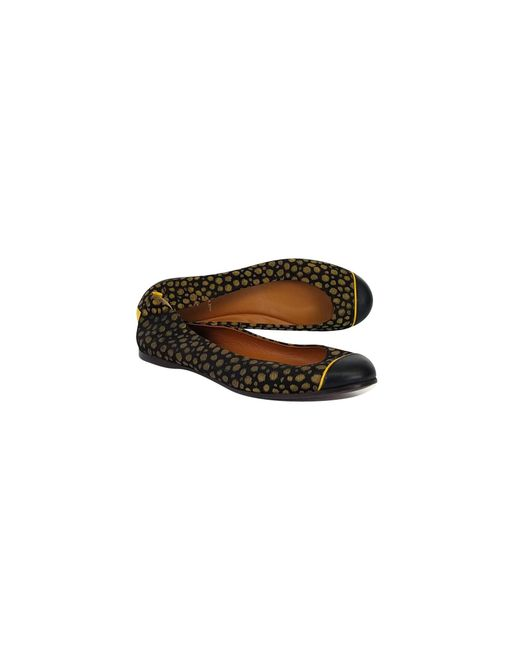 Fendi - Black & Gold Dotted Flats - Lyst