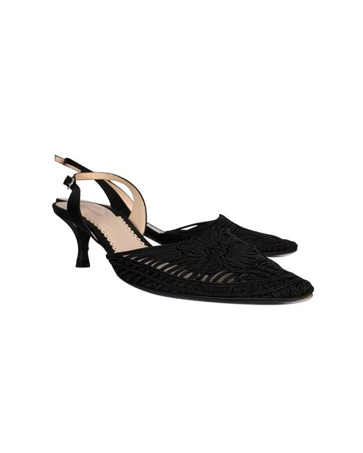 Giorgio Armani - Black Embroidered Slingbacks - Lyst