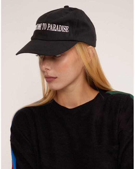 Cynthia Rowley - Black Welcome To Paradise Baseball Cap - Lyst