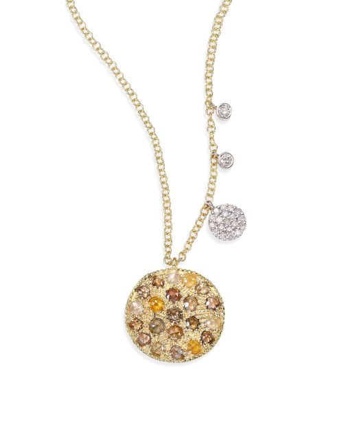 Meira T | Metallic White Diamond, Rough Diamond, 14k Yellow Gold & 14k White Gold Pendant Necklace | Lyst
