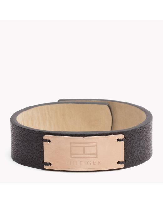 Tommy Hilfiger | Black Leather Cuff | Lyst