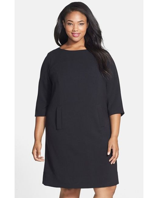 Eliza J | Black Pocket Detail Shift Dress | Lyst