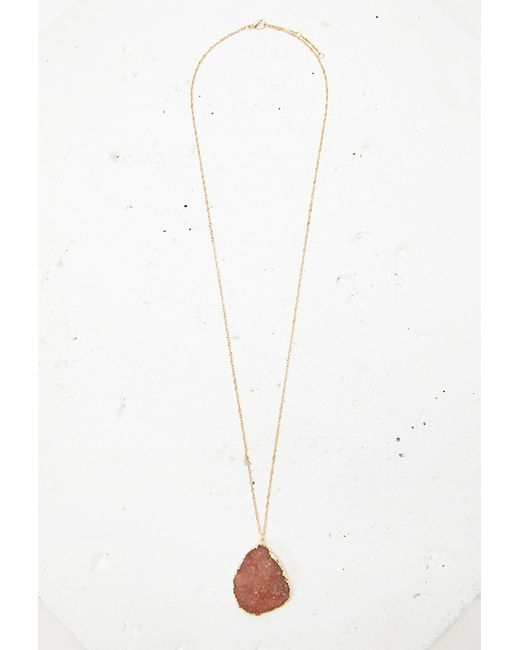 Forever 21 | Pink Faux Stone Pendant Necklace | Lyst