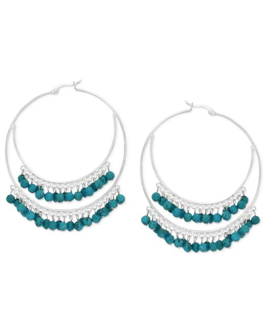 Macy's | Blue Manufactured Faceted Turquoise Double Hoop Earrings In Sterling Silver (3/8 Ct. T.w.) | Lyst