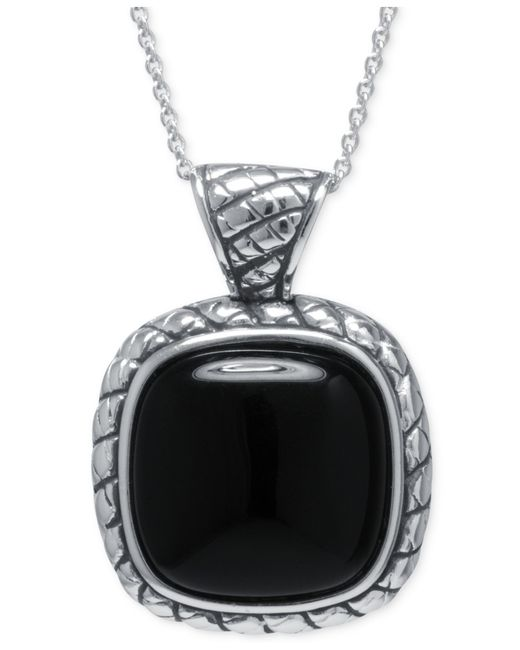 Macy's | Black Agate Square Pendant Necklace In Sterling Silver | Lyst