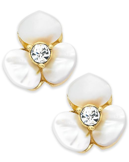 Kate Spade | Metallic Gold-tone Cream Disco Pansy Flower Stud Earrings | Lyst