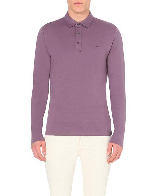 Michael Kors   Purple Branded Long-sleeved Cotton Polo Shirt - For Men for Men   Lyst