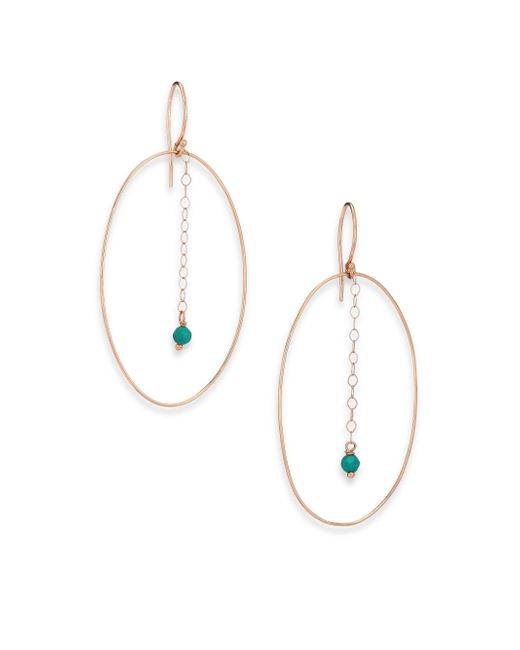 Ginette NY | Pink Fallen Sky Turquoise & 18k Rose Gold Ellipse Drop Earrings | Lyst