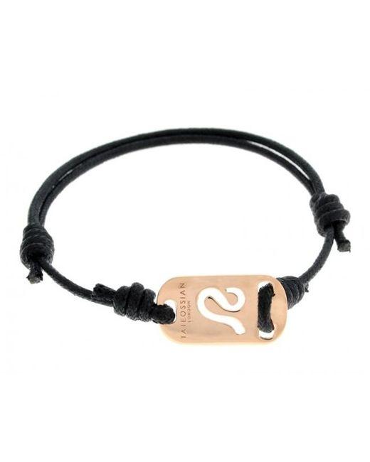 Tateossian | Pink Zodiac 18k Rose Gold Leo Black Waxed Cord Bracelet for Men | Lyst