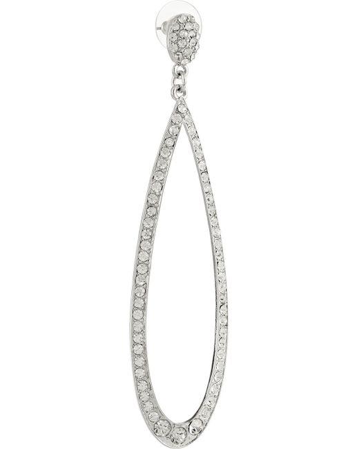 Kenneth Jay Lane   Metallic Rhodium-plated Crystal Earrings   Lyst