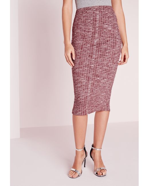 missguided rib longline midi skirt burgundy in lyst