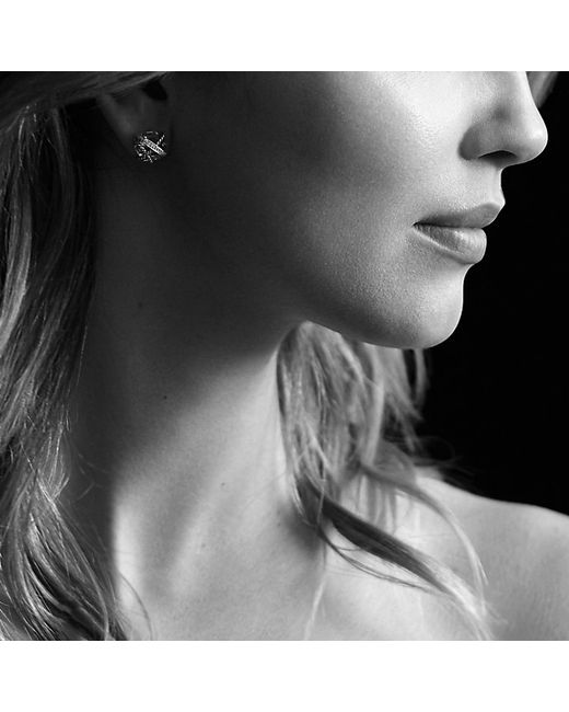 David Yurman   Metallic Cable Wrap Earrings With Crystal And Diamonds, 10mm   Lyst