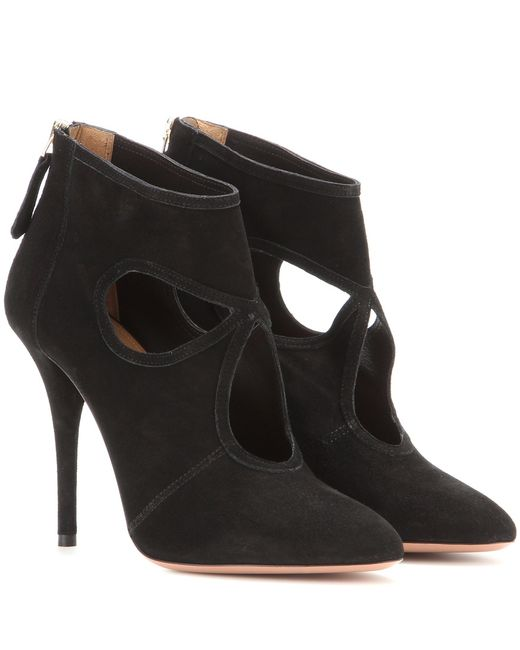 aquazzura thing suede stiletto ankle boots in black