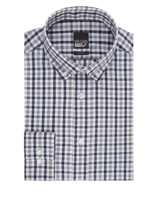 William Rast | Blue Slim Fit Plaid Dress Shirt for Men | Lyst