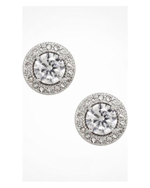 Express | Metallic Cubic Zirconia Pave Halo Stud Earrings | Lyst