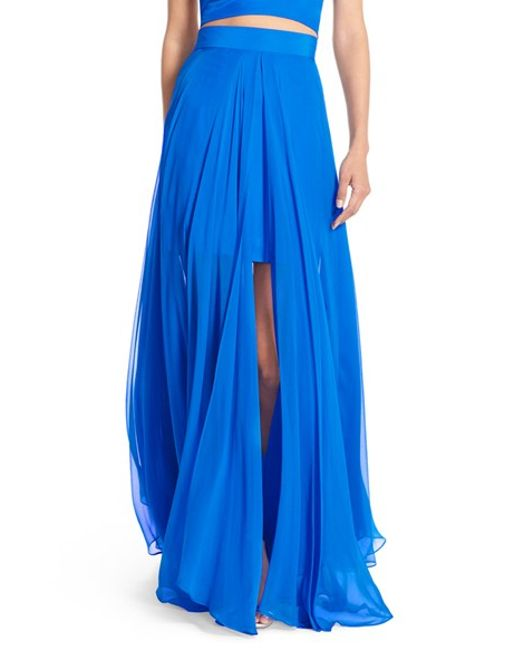 milly silk maxi skirt in blue save 40 lyst
