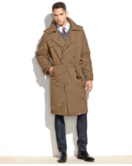 London Fog Iconic Belted Trench Raincoat In Khaki For Men