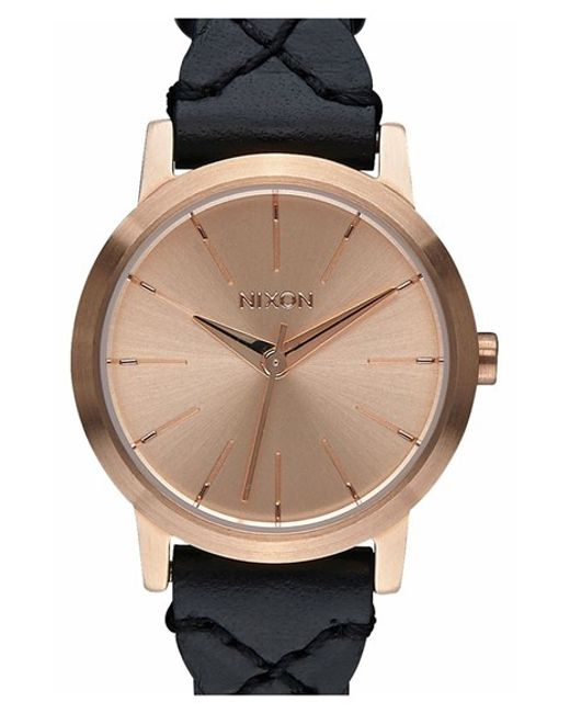Nixon 'the Kenzi' Round Leather Strap Watch in Black for ...
