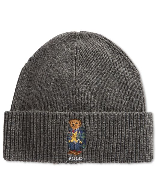 Polo Ralph Lauren | Gray Polo Bear Cardigan Ribbed Cuffed Hat for Men | Lyst